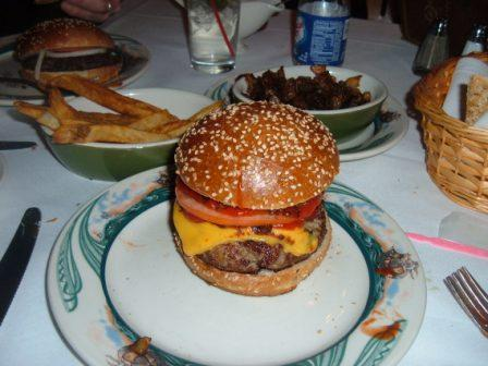 Peter Luger's Cheeseburger with Fries and Fried Onions