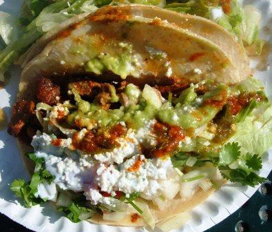 spicy enchilada pork taco from hernandez huaraches at red hook ball fields