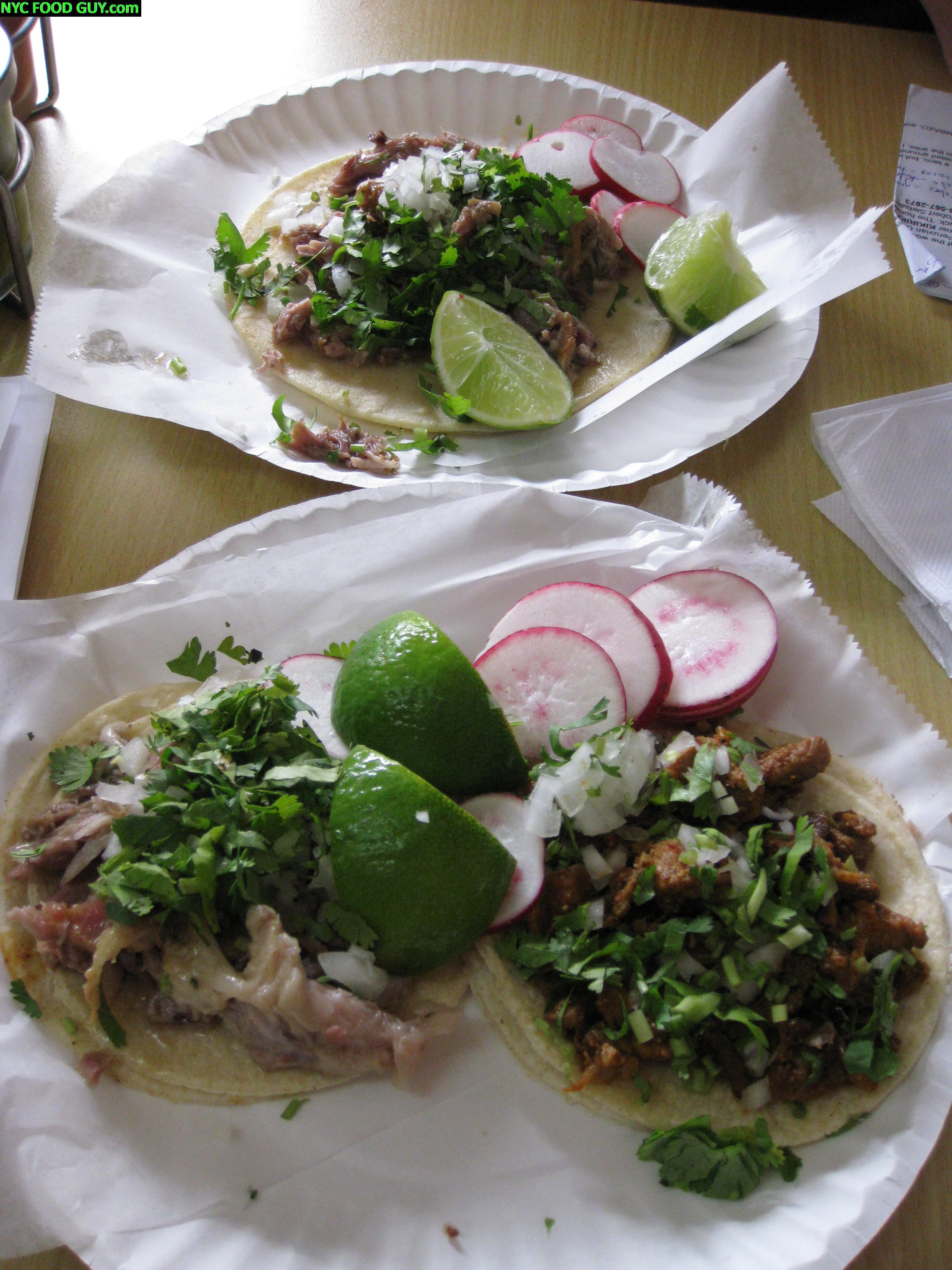 Carnitas (fried pork) taco especiales (top), carnitas (bot. left) & enchilada (spicy pork, bot. right) taquitos
