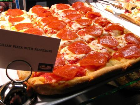Sicilian pizza with pepperoni